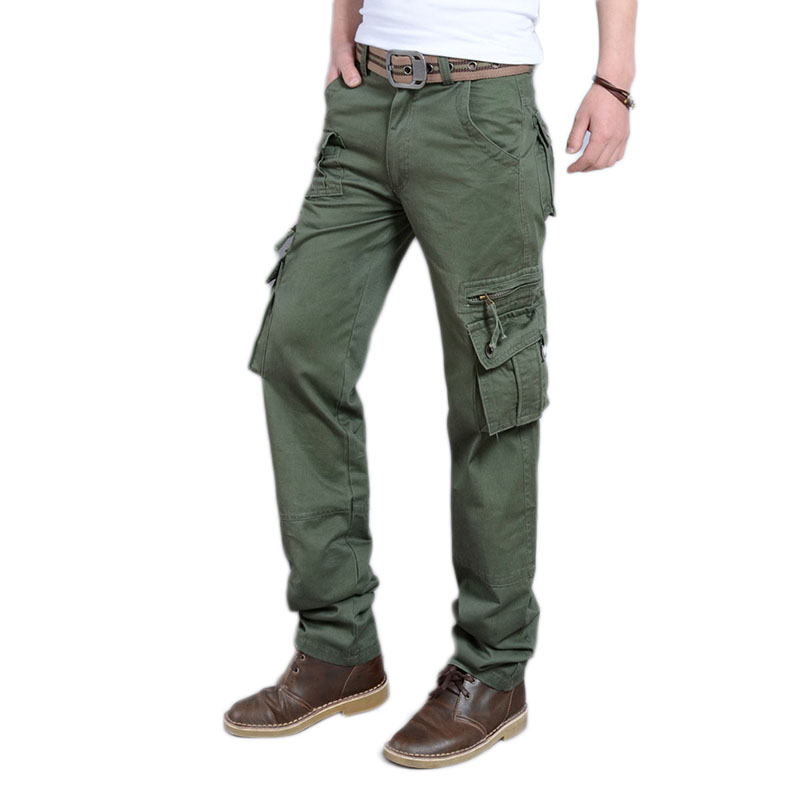 Cargo Pant Mens Trousers Comfortable Thin Loose Multi-Pocket Straight Zipper Casual Simple-Trend