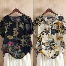 ZANZEA Tunic Cotton Chemise Women Summer Floral Printed Short Sleeve Blouses Holiday Tops 2021 Causal Loose Shirt Plus Size 5XL