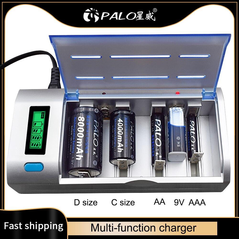 PALO-batería recargable inteligente, pantalla LCD de 1,2 V, Ni-MH, AA, AAA, tamaño C, 9V, Cargador de baterías, tipo C, descarga rápida