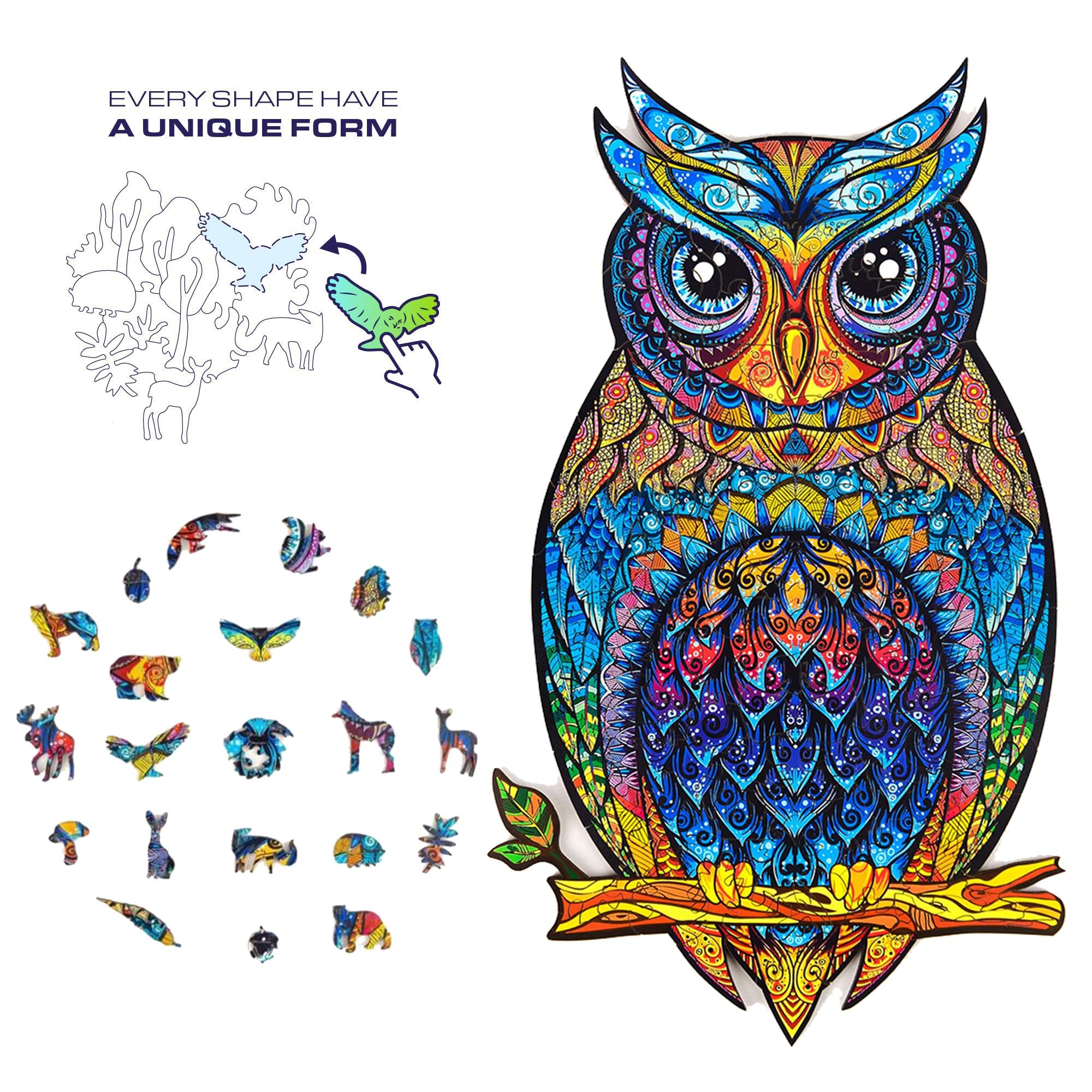 Drewniane Puzzle unikalny kształt Chameleon Butterfly smoczy kot Fox Wolf Owl Goldfish Puzzle ze zwierzętami prezent dla dorosłych dzieci zabawki