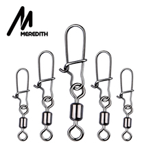 MEREDITH 50pcs lot Fishing Connector Pin Bearing Rolling Swivel Stainless Steel with Snap Fishhook Lure Swivels Tackle cheap Steel Alloy Non-barb Hook LAKE Ocean Rock Fshing length-35mm tension 30kg length-29mm tension 25kg length-25mm tension 18kg