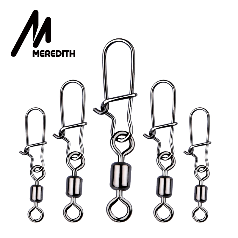 MEREDITH 50pcs/lot Fishing Connector Pin Bearing Rolling Swivel Stainless Steel With Snap Fishhook Lure Swivels Tackle