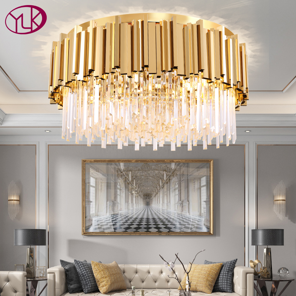 Youlaike Round Gold Crystal Chandelier For Ceiling Luxury Modern Bedroom LED Lustres De Cristal Home Indoor Lighting Fixtures
