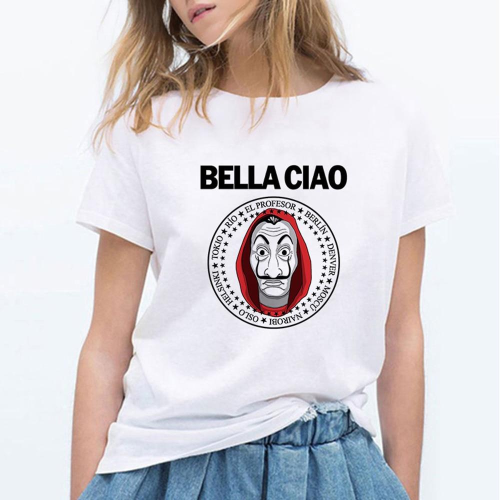 Dinero Heis moda BELLA CIAO camiseta Linda Kawaii La Casa De Papel Camisetas Mujer Casual camiseta Casual Casa de papel camiseta