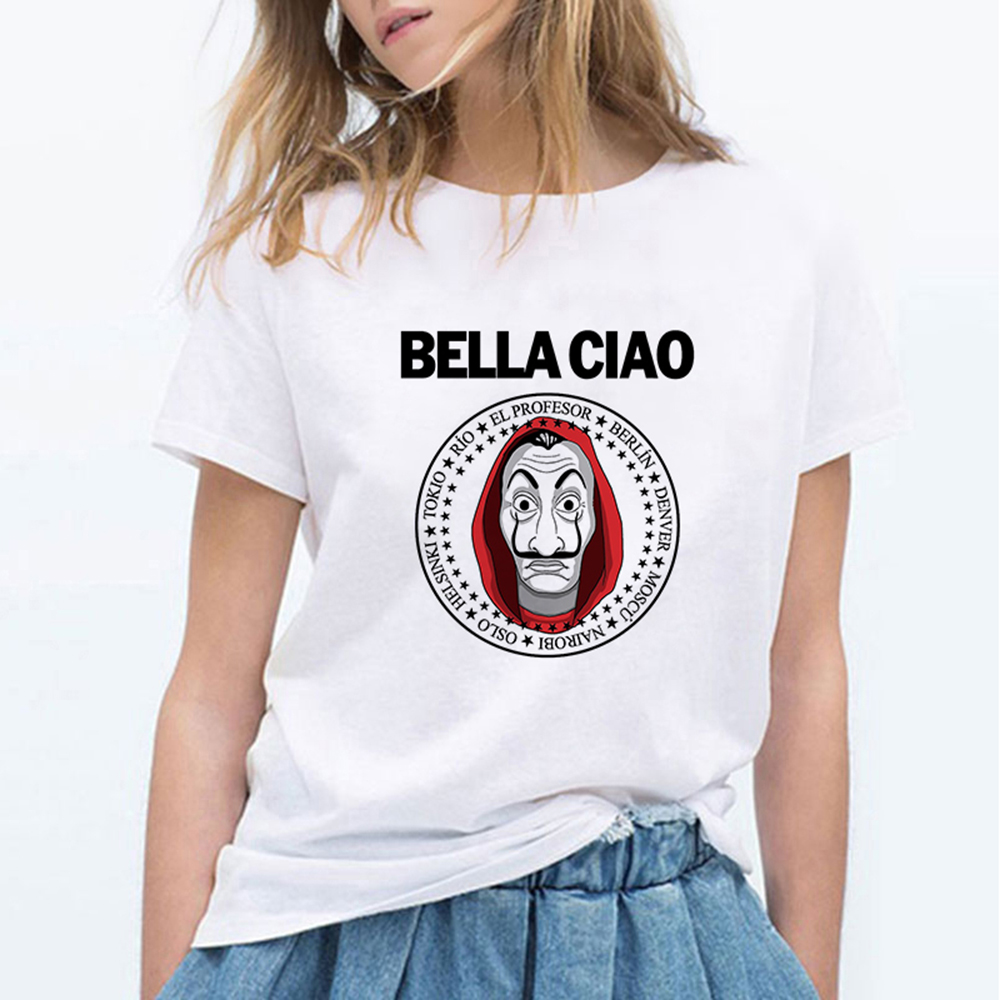 Money Heis Fashion BELLA CIAO T-Shirt Cute Kawaii La Casa De Papel T Shirts Women Casual T Shirt Casual House Of Paper Tshirt