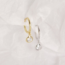 New 925 Sterling Silver Round Zircon Hoop Earrings Water Drop Mori Style for Women Fashionable Jewelry Gift