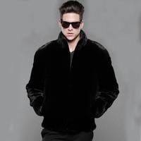 New Autumn Winter Mens Faux Fur Coats Male Casual Black Simple Stand Collar Zipper Jackets Mens Imitation Mink Fur Coats D625