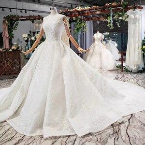 Image 4 - HTL620 vestidos de casamento com long train mangas beading lantejoulas zipper O Pescoço plissado vestido de noiva uma linha vestido de novia 2019