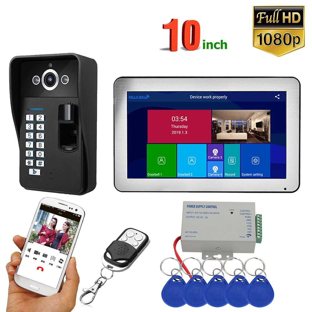10 Inch Record Wifi Wireless Fingerprint RFID Video Door Phone Doorbell Intercom System With Wired 1080P Camera