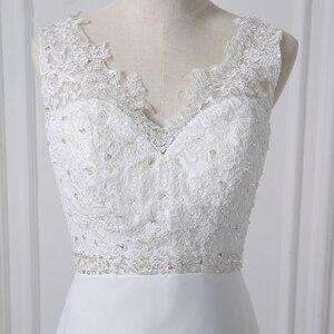 Image 5 - Jiayigong Cheap V neck White/Ivory Wedding Dresses Zipper Back Bridal Gowns Plus Size Vestido De Noiva Real Model Bride Dress