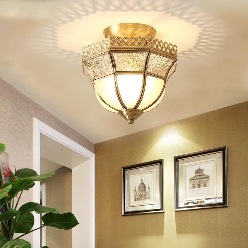 LukLoy classique cuivre plafonnier couloir rétro lumières universel E27 vis lumière Source Loft allée entrée plafonniers - 4
