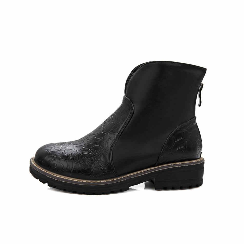 Kadın Büyük Boy 43 en kaliteli kaymaz tıknaz Topuklu 2019 ayak bileği çizmeler kadın ayakkabıları moda zip up Ayakkabı Kadın çizmeler