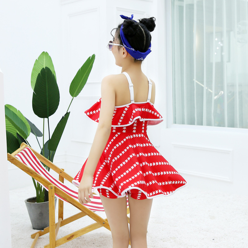 KID'S Swimwear Baby GIRL'S Split Skirt-Boxer Hot Springs Swimwear Big Boy Young STUDENT'S Tube Top Princess Dress 9-13-Year-Old