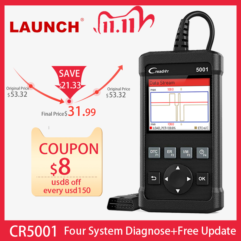 LAUNCH X431 CR5001 OBD2 Code Reader Scanner ODB2 Car Diagnostic Tool Free Update Automotive Scanner OBDII Turn Off Engine Light