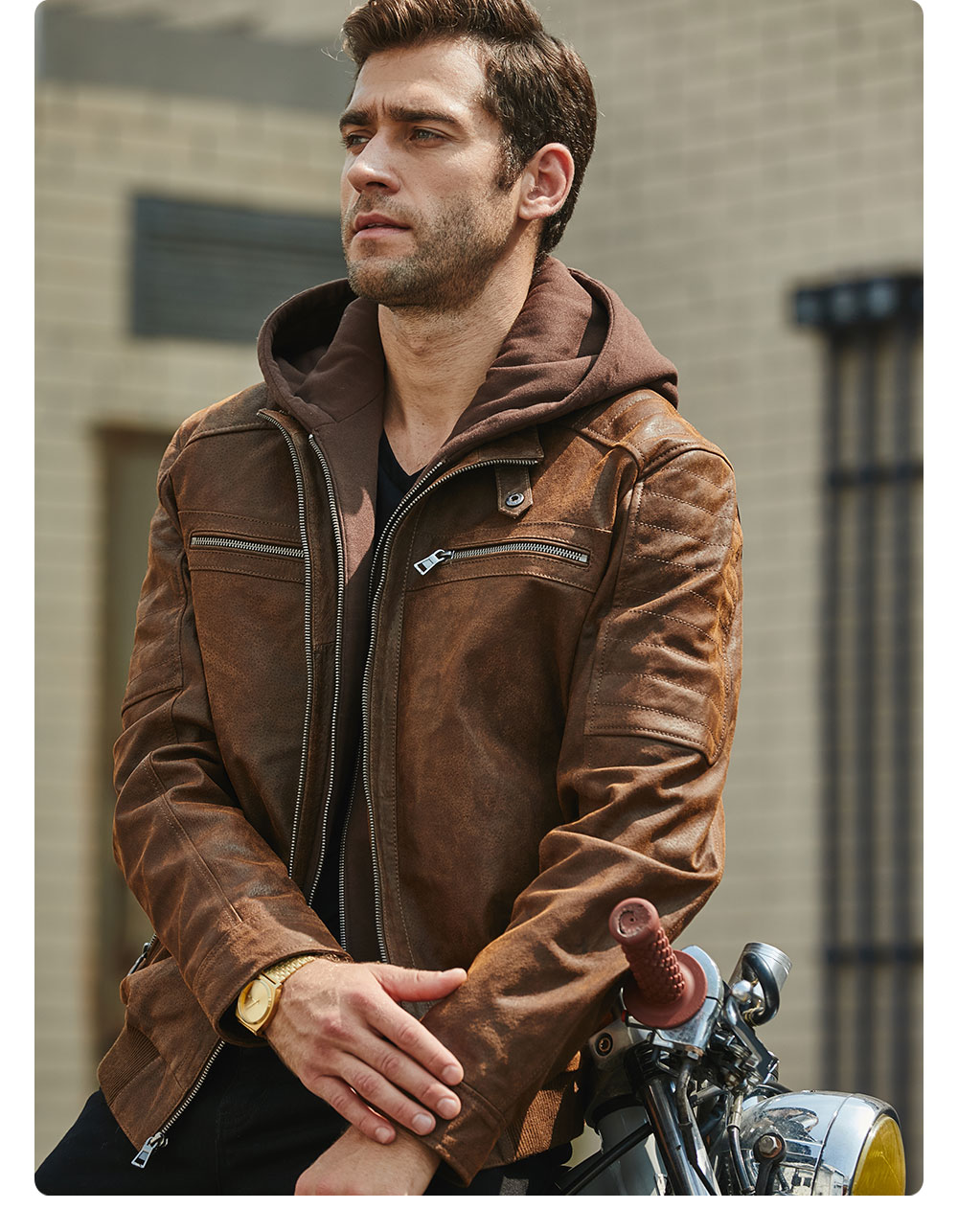 Hf903e2a2171a4748920c1109a50803ebM New Men's Leather Jacket, Brown Jacket Made Of Genuine Leather With A Removable Hood, Warm Leather Jacket For Men For The Winter