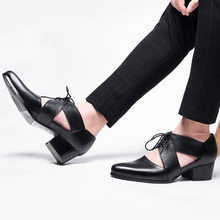 High Heel Genuine Leather Sandals Men Summer Pointed Toe Hollow Out Sandals Casual Dress Shoes Black Lace Up Footwear 2019 New(China)