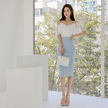 Women Backless Sheath Sexy Party Dress Women Blue Midi Summer Dress 2019 Robe Longue Off-shoulder Patchwork Contrast Wrap Dress blue sexy off shoulder over layer ribbed midi dress