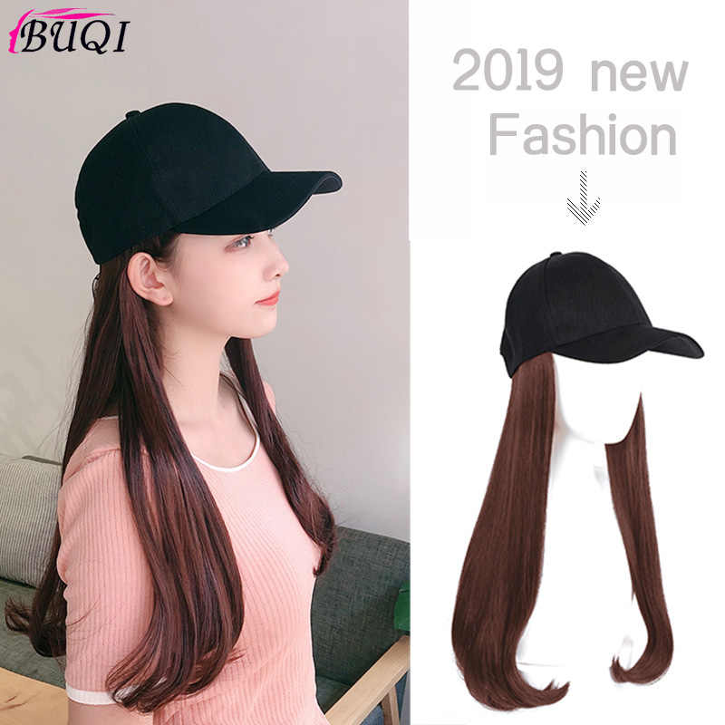 Fashion Baseball Cap with Integrated Wig Suitable Party Wig Black Brown Synthetic High Temperature Hair BUQI