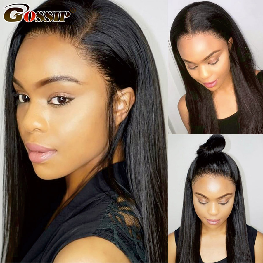"Straight Lace Front Human Hair Wigs Gossip 13x4 Lace Frontal Wig Pre Plucked Hairline Baby Hair Remy 8-26"" 150% Brazilian Wig"