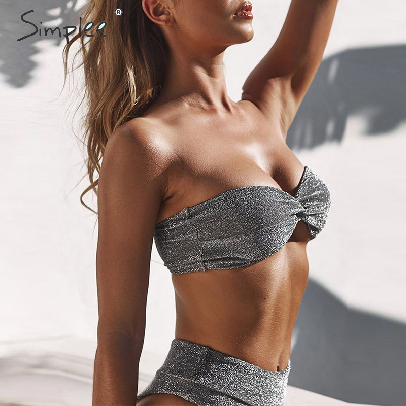 Simplee Silver shiny sexy women swimwear High waist push up sleeveless 2 pieces bra sets bikini Summer fashion ladies swimsuit