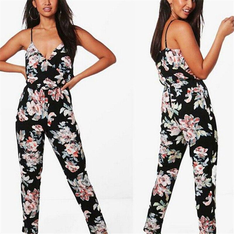 Women Jumpsuit Floral Romper Women Sleeveless Jumpsuit V Neck Womens Jumpsuits Romper Ladies Rompers Clubwear Long Trousers