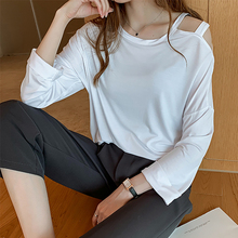 SexeMara 2019 Autumn New Pullover Full Sleeve O-neck Solid Color Hollow Out Shoulder Ladies Fashion Loose Shirt CST095