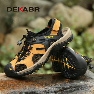 Image 4 - DEKABR New Summer Mens Shoes Outdoor Casual Shoes Sandals Genuine Leather Non slip Sneakers Hihg Quality Men Beach Sandals