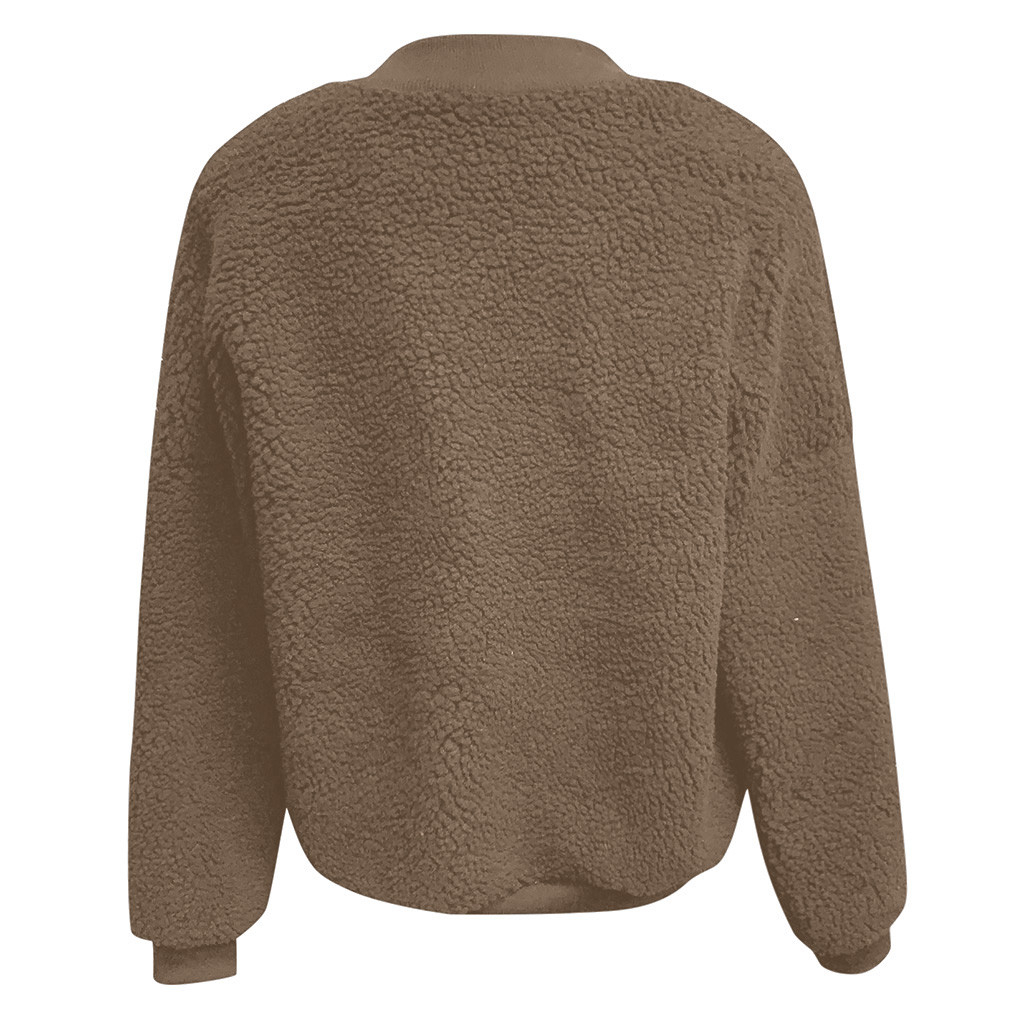 CHAMSGEND Hot Winter Coat Womens Thick Warm Pocket Fleece Jacket Zip Up Overcoat Zip Open Front Outwear Coat 1022