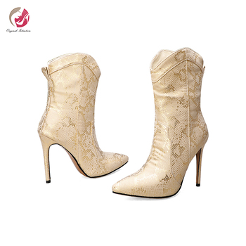 Original Intention New Winter Snakeskin Ankle Boots Woman Elelgant Gold Silver Black Pointed Toe  Stiletto Heels Sexy Shoes