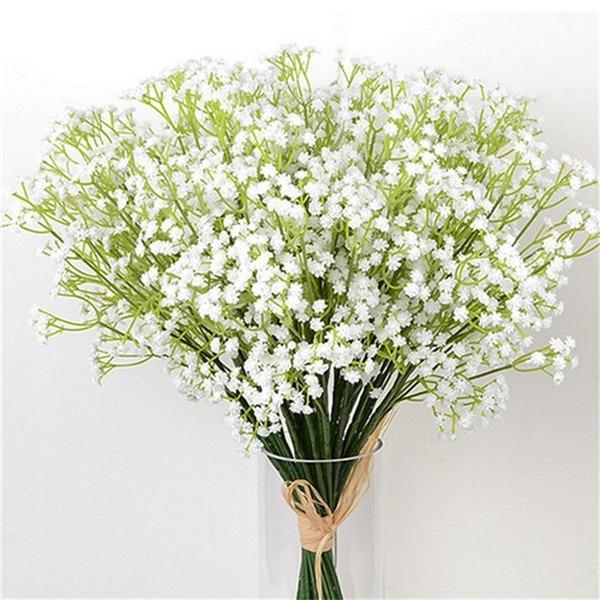 Artificial Fake Flowers White Gypsophila DIY Floral Bouquets White Babies Breath Arrangement Wedding Home Plant Decoration