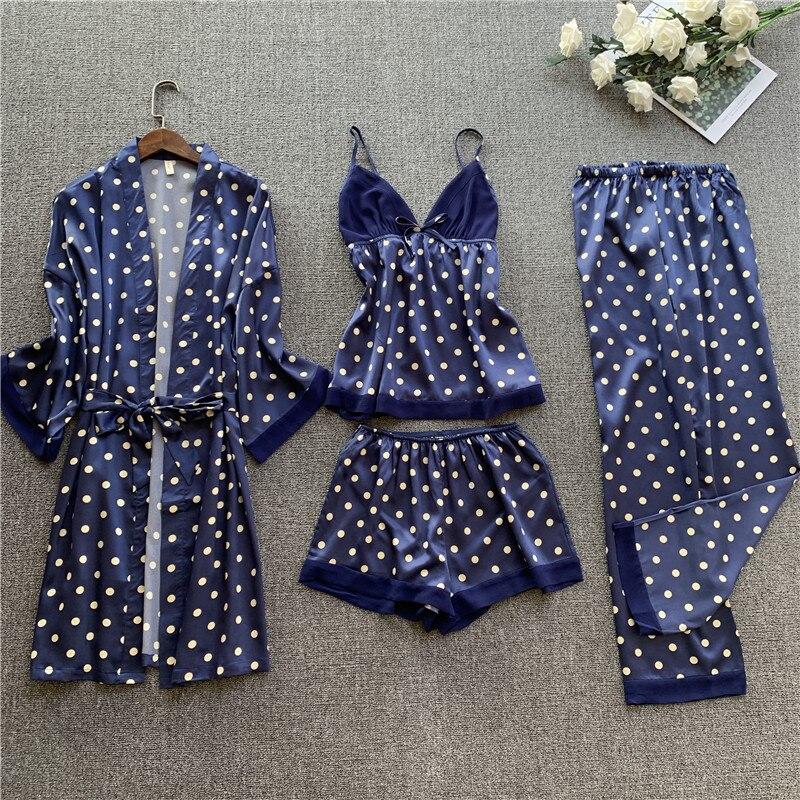 Spring 4 Pieces/set Womens Pajamas Satin Lace Top Sexy Pajamas Women  Pyjama Mujer Pyjamas for Women Sleepwear