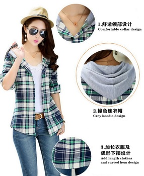 High-end women's plaid shirt Japanese style 100%Cotton Soft Breathable Comfortable Colorfast Anti-Pilling Keep-warm Hooded shirt 10