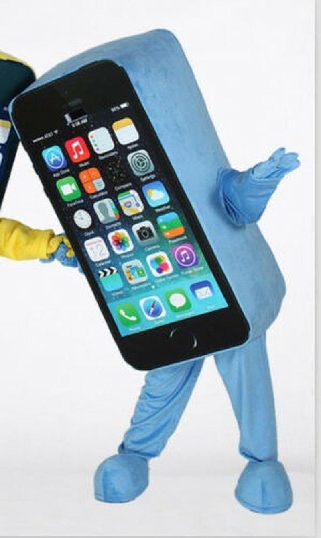Advertising Blue Mobile font b Cell b font font b Phone b font Mascot Cosplay Costume
