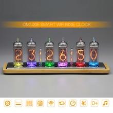 Omnixie IN 14 توهج الرقمية أنبوب ساعة LED تغيير لون الإبداعية ساعة المنزل Nixie ساعة رقيقة جدا ذكي واي فاي