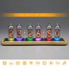 Omnixie horloge à Tube numérique en 14, lueur, horloge de maison créative, LED changements de couleur, Ultra mince, intelligente, avec WIFI