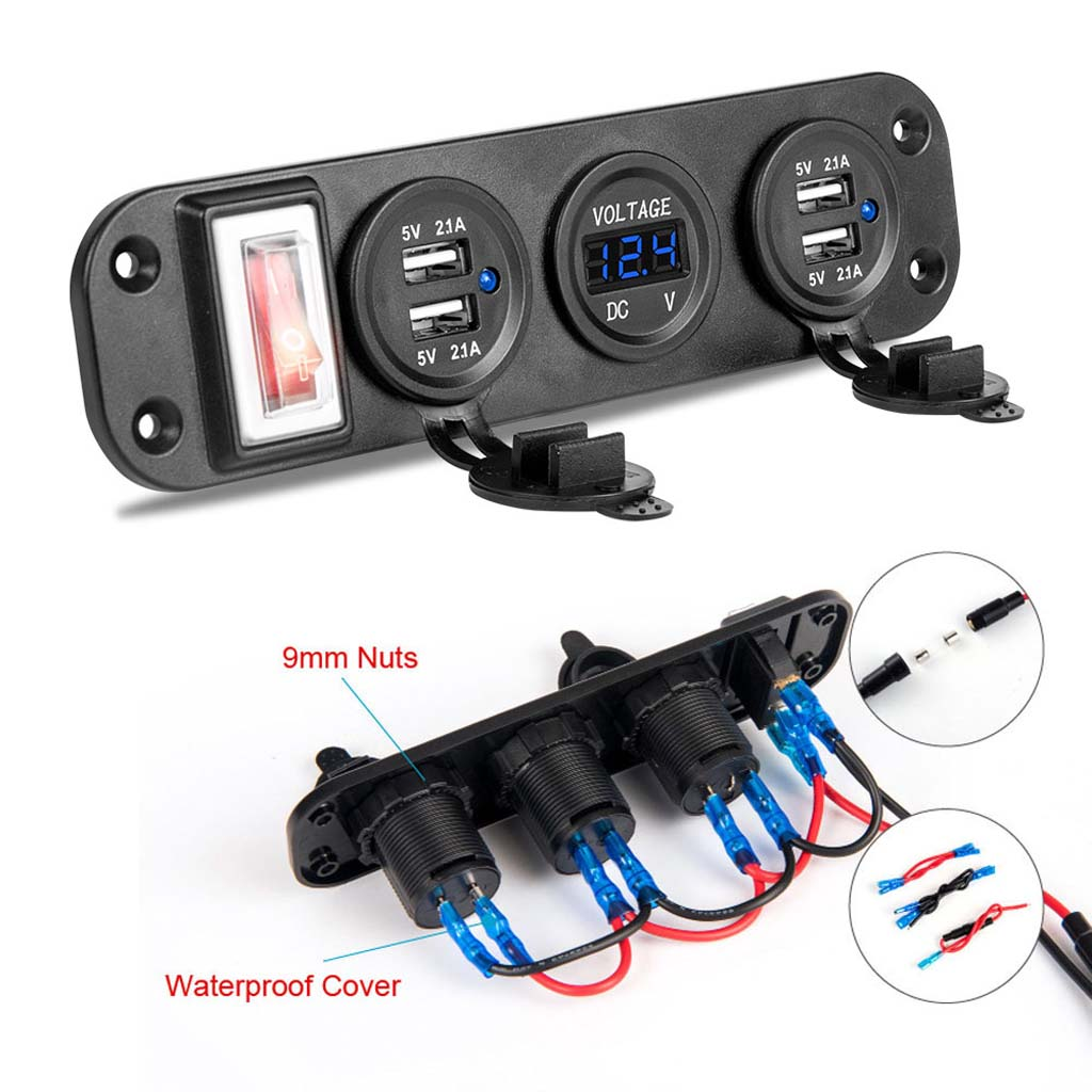 New Car Boat Truck DC 12V 24V 4 USB Charger Adapter LED Voltmeter With Switch Panel Drop Shipping Support