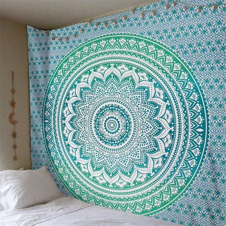 Indian Mandala Tapestry Wall Hanging Oversize Blanket Hippie Psychedelic Moon Elephant Boho Decor Witchcraft