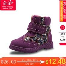 Apakowa zimowe jesienne buty dziewczęce kwiatowe dziecięce buty ciepła, krótka pluszowa wygodna dziecięca Pu skóra Martin buty dla małe dziewczynki