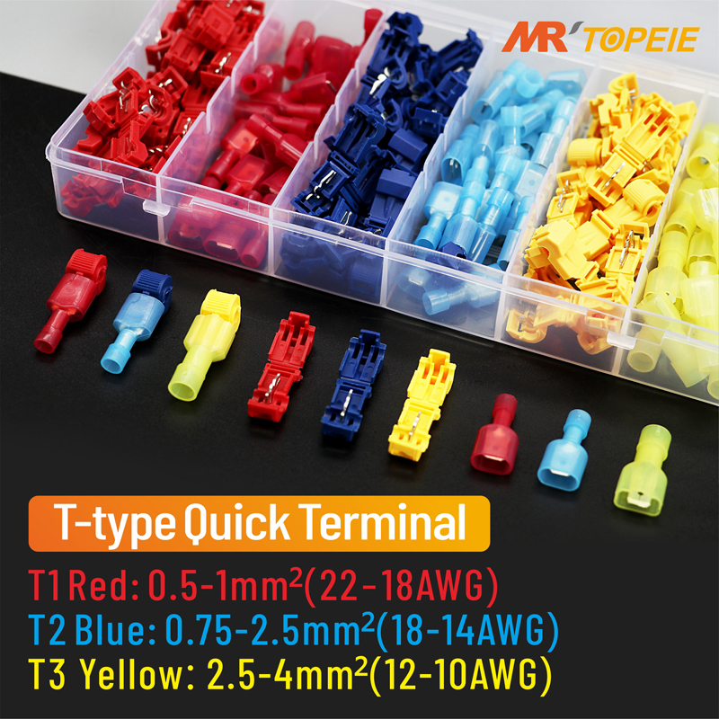 T-type Plug Line Connector, 300Pcs(150Sets)Self-peeling Quick Cable Terminal, Pressure Wiring Waterproof Electric Connectors