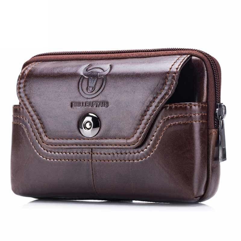 ABDB-BULLCAPTAIN Phone Cigarette Purse Fanny Pack Waist Bag Leather Hip Bum Money Belt Bag Waist Packs Men Belt Pouch Bags