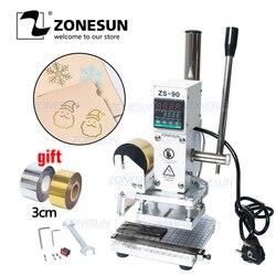 ZONESUN ZS90 Manual tarjeta del PVC digital libro de papel de madera personalizado logotipo en relieve máquina de estampación en caliente máquina de prensado en caliente