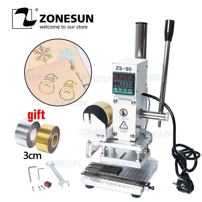 Zonesun zs90 manual digital pvc cartão livro de couro madeira logotipo personalizado gravação quente máquina de carimbo da imprensa do calor