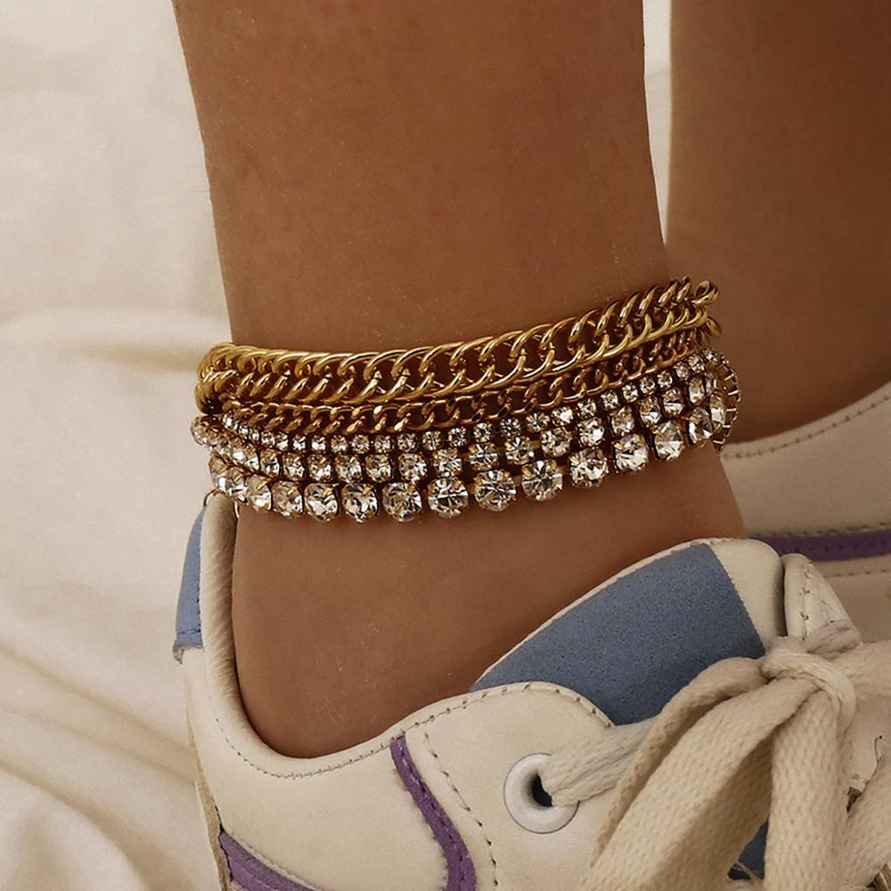 Lacteo Bohemian Colorful Crystal Anklet Bracelet Charm Lxuruy Shiny Rhinestone Chain Barefoot Sandals Anklet Foot Beach Jewelry