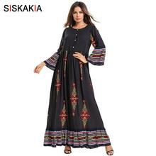 Siskakia Ethnic Printing Long Dress Elegant Long Sleeve A Li