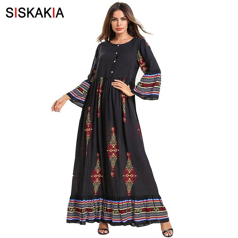 Siskakia Ethnic Printing Long Dress Elegant Long Sleeve A Line Swing Maxi Dresses Front Button Breast-feeding Wears Autumn 2019
