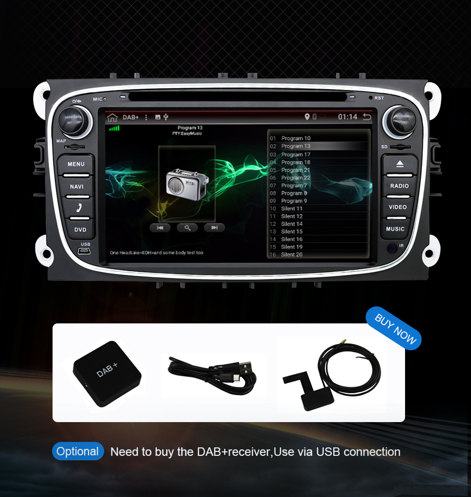 Cheap Eunavi 2 din Android 9.0 Car DVD Radio Multimedia GPS for FORD Focus Mondeo S-MAX C-MAX Galaxy 4G 64G IPS DSP TDA7803A head unit 29