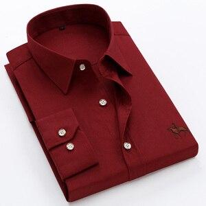 Image 2 - Tamanho grande 6XL 100% Algodão Bordado de Manga Comprida Camisa de Vestido dos homens Camisa Dos Homens Confortável Fino 5XL Plus Size Alta qualidade Barato