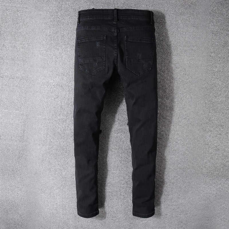 Moda Streetwear Uomo Jeans di Alta Qualità Elastico Nero Distrutto Jeans Strappati Uomini Punk di Stirata Dei Pantaloni Della Rappezzatura Dei Jeans Hip Hop