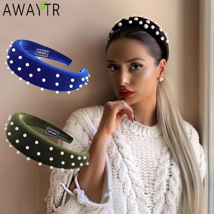 AWAYTR Fashion Pearl Thickening Velvet Headbands Hari Hoop 5CM Solid Wide Girl Hairbands Women For Hair Accessories Headwear