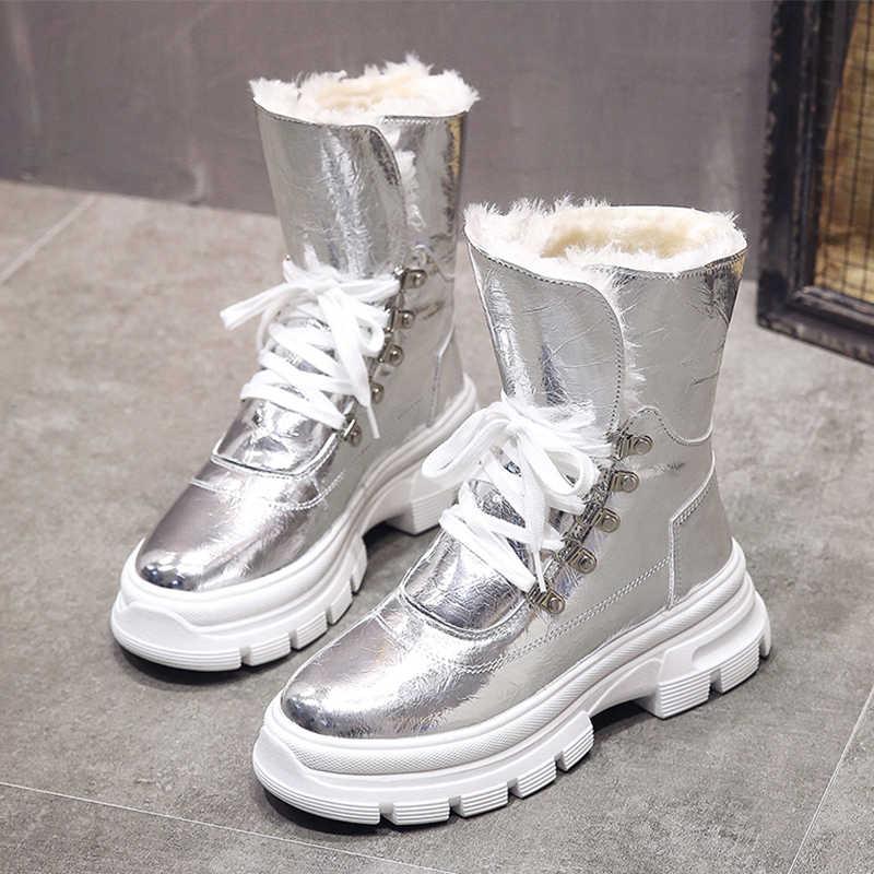 Glitter Silver Snow รองเท้าผู้หญิง 2019 ใหม่แฟชั่นหนังรองเท้าผู้หญิงรองเท้าสีดำรองเท้าหนังนิ่มรองเท้า PUNK